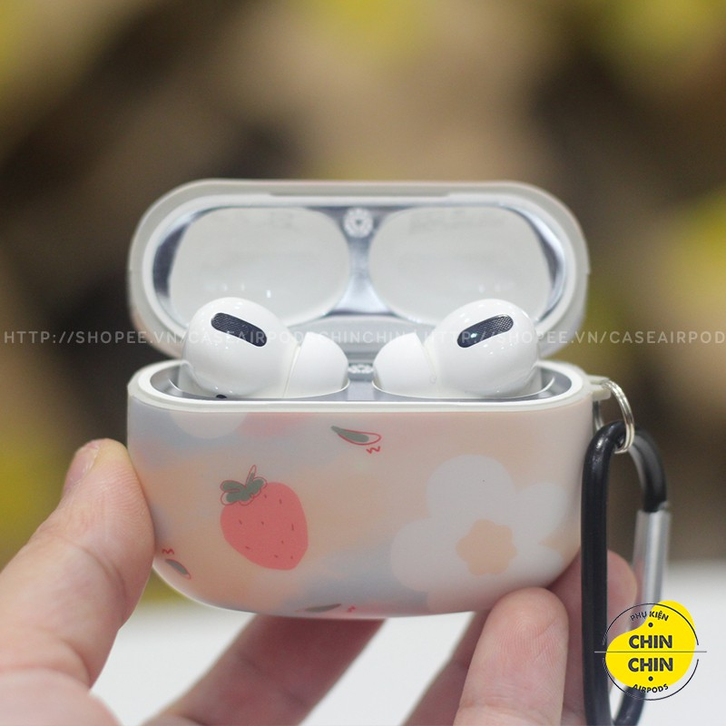 Vỏ Airpod 2 Mặt Mèo Đựng Tai Nghe Airpods1 2 Pro Hoa Dâu Tây Bằng Nhựa TPU Chống Bám Bụi - Chinchin Case