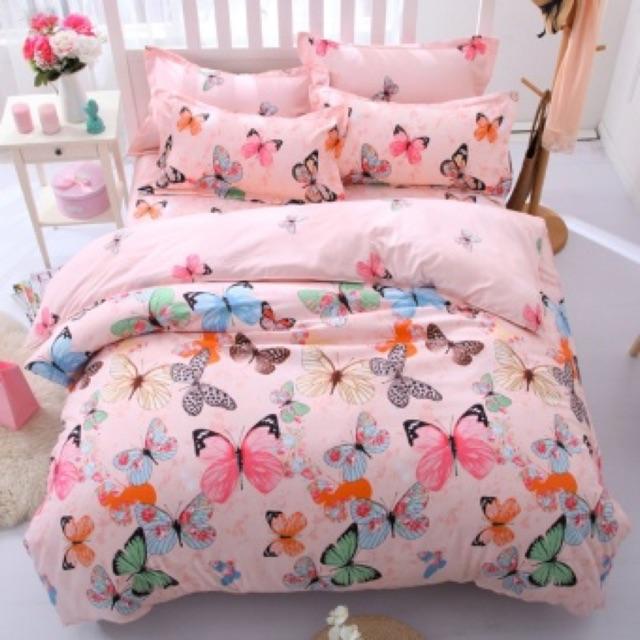 [122 Kim Giang] Bộ ga gối Poly cotton màu cánh bướm hồng cam có sẵn kích thước 1m6 hàng chuẩn giá rẻ