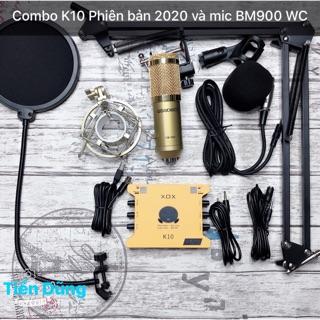 Mic thu âm bm900 woaichang Sound Card XOX K10 2020 chân màng- Bộ live stream đã đầy đủ sound card xox k10 2020 tiếng anh