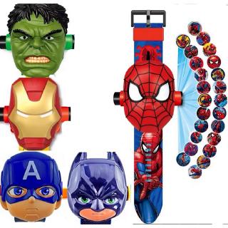 Đồng hồ đeo tay thể thao chiếu hình ảnh kỹ thuật số có thể lật ngược thiết kế siêu anh hùng cho trẻ em