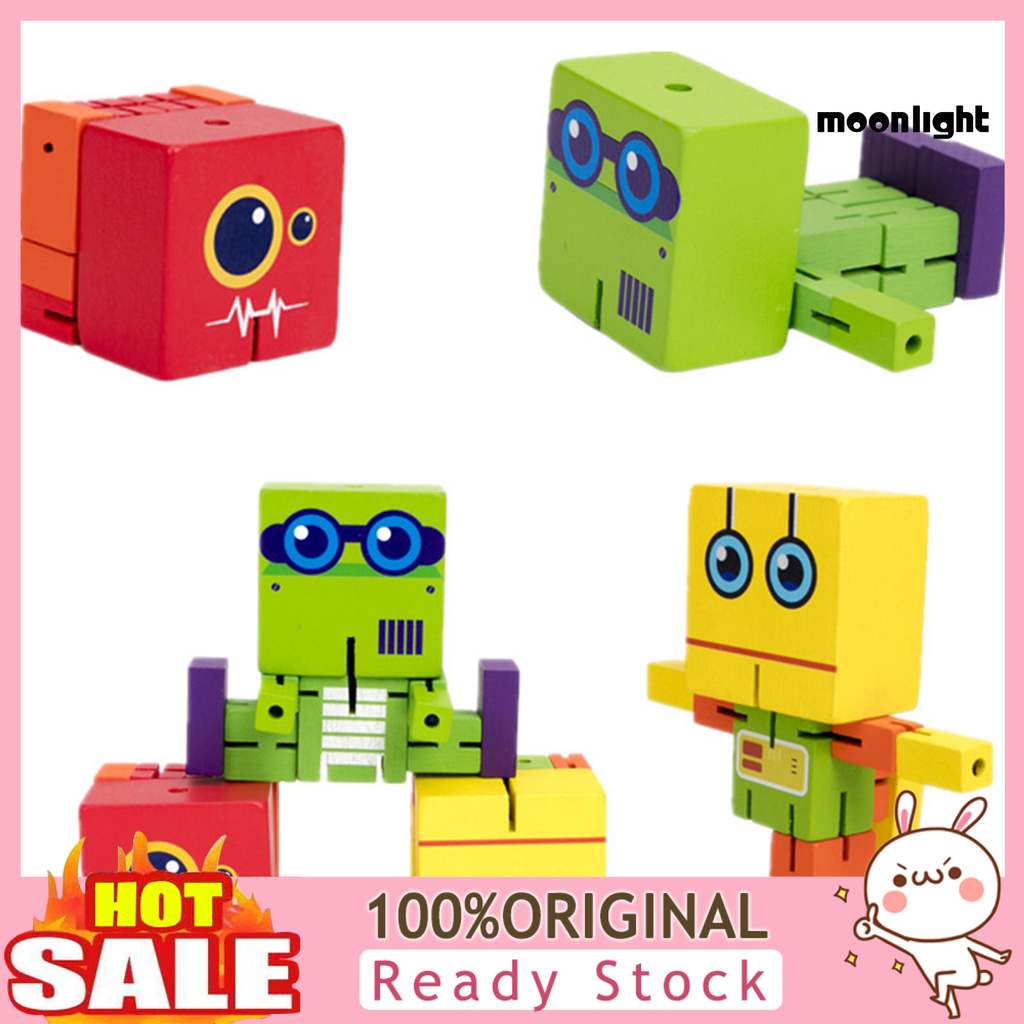 ML-JD Building Blocks Flexible Early Childhood Enlightenment Wood Deformation Robot Educational Toys for Kids