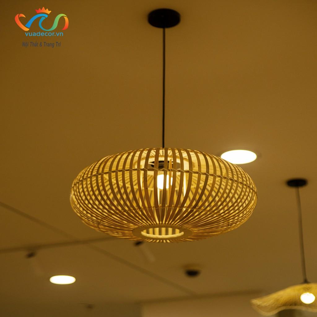 Đèn tre thả trần VUADECOR hình tròn 1 lớp trang trí decor nhà cửa, nhà hàng, quán cà phê