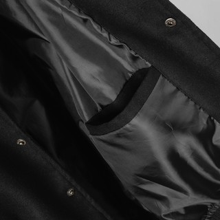 Hình ảnh Áo khoác Bomber nam họa tiết trơn Felt And Leather chất ép từ Len giữ nhiệt và thoáng - FEAER DENIM-5