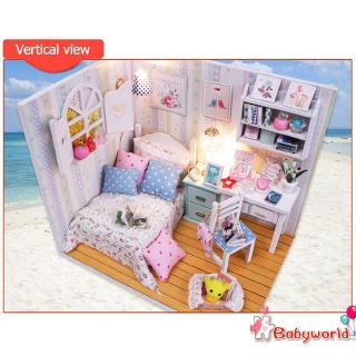 »b1❤DIY Model Wooden Building Blocks Miniature Doll House Furniture Gift Toysღ