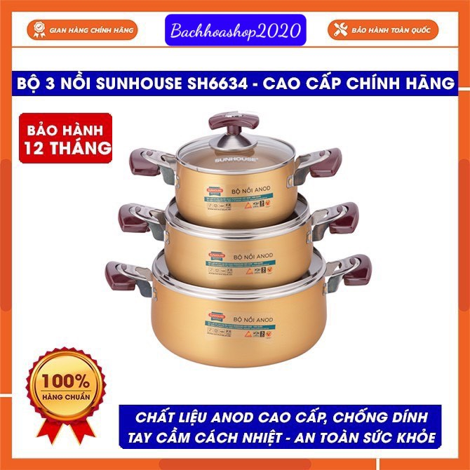 Bộ nồi Anod Sunhouse SH6634 chất liệu nhôm dùng bếp gas bếp hồng ngoại