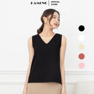 Áo kiểu nữ cổ tim KAMONG dáng áo sát nách, kiểu dáng thiết kế cơ bản hiện đại, chất liệu cotton. thumbnail