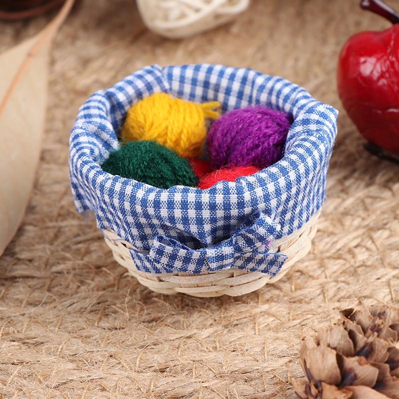 1:12 Dollhouse miniature accessories mini cloth wool basket simulation model toy