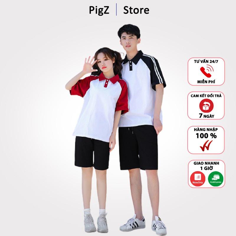 Áo thun polo PigZ [HÀNG QUẢNG CHÂU] Áo thun nam nữ có cổ phối tay màu vải cotton freesize ATN02