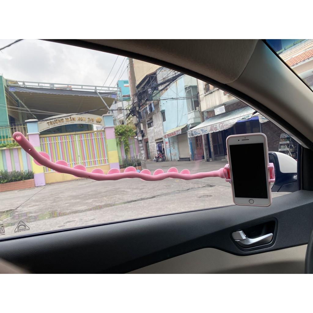 KẸP ĐIỆN THOẠI DÀI HÌNH CON SÂU NHIỀU NÚT HÍT, giá đỡ đt smartphone ô tô xe hơi, có mút hút mặt phẳng