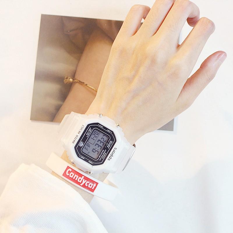 Đồng hồ thể thao nữ SPORT mặt chữ nhật dây cao su size 36x32mm