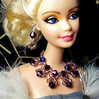 Bộ Trang Sức Búp Bê Barbie – Vòng cổ, Hoa Tai Búp bê Handmade Pha lê #15