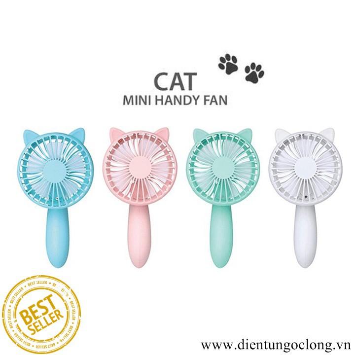 Quạt Sạc Mini Cầm Tay Hình Chú Mèo Gấp Gọn SQ2005