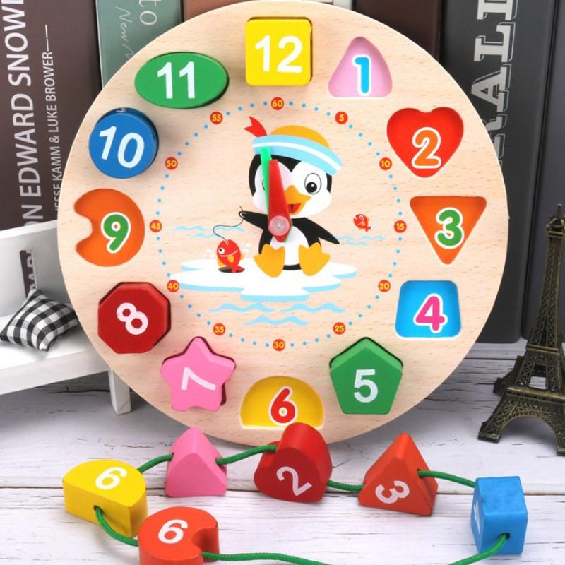 Đồ chơi đồng hồ gỗ thông minh cho bé học số, hình khối, xem giờ và màu sắc