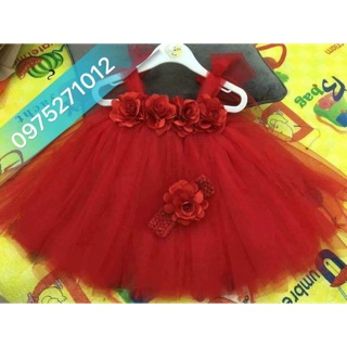 Đầm công chúa cho bé ❤️FREESHIP❤️ Đầm đỏ hoa hồng đỏ