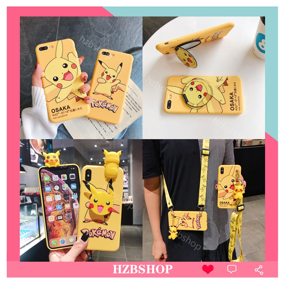【Ready Stock】Casing OPPO A5S A3S A7 A3 A83 case soft cover for OPPO A73 A75 A79 Cartoon cute Pikachu With lanyard & Holder & mirror silicone TPU Shockproof phone case ốp lưng