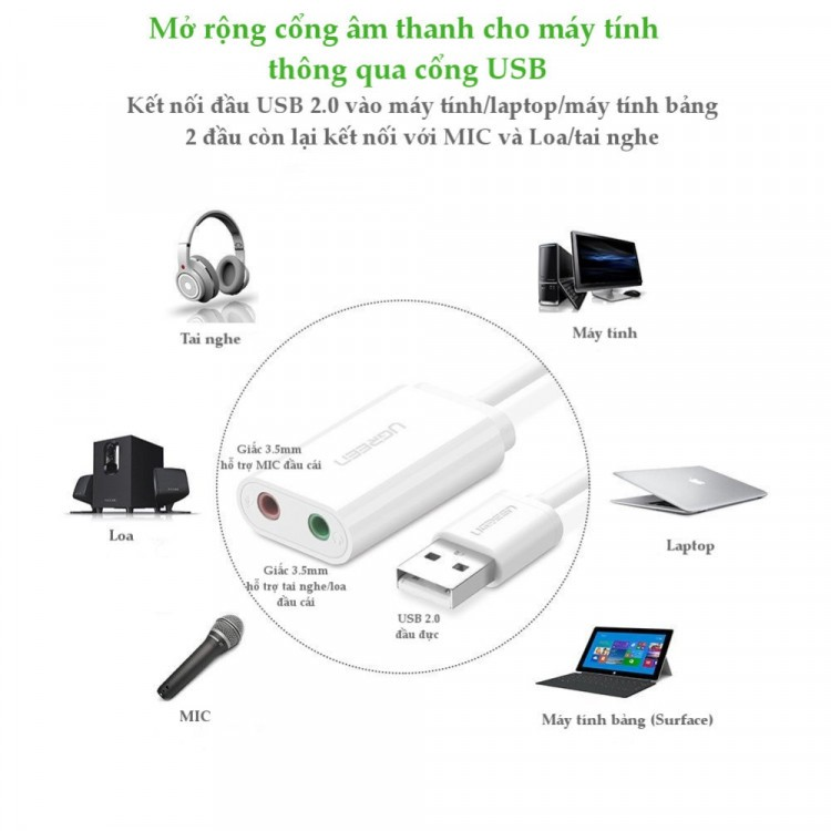 Cáp chuyển USB ra Sound UGREEN 30143 (USB Sang Headphone và Microphone jack 3.5mm) cao cấp - Hàng