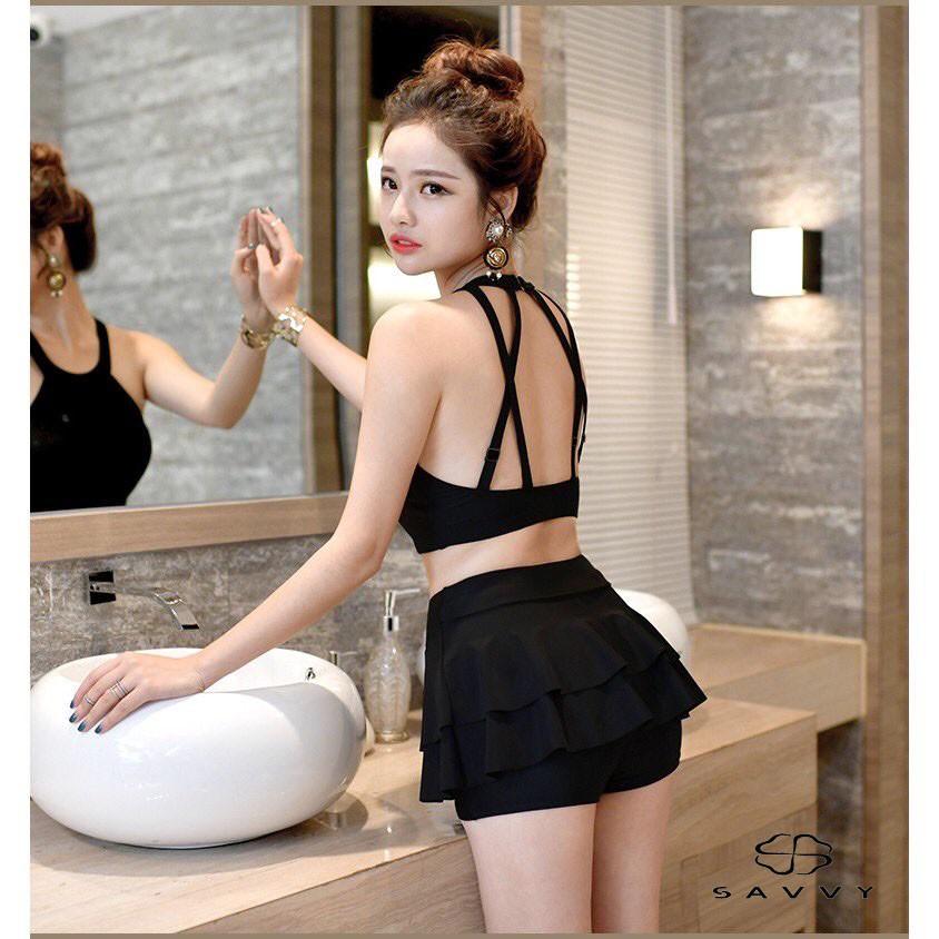 Bộ Bikini Áo Tắm Đan Chéo Dây Lưng 2 Mảnh Đi Biển Phong Cách Hàn Quốc