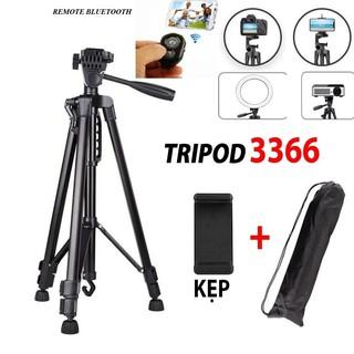 Gậy Tripod 3 chân cho điện thoại và máy ảnh 3366 dài 1m50 cao cấp – Tặng kèm Đầu kẹp điện thoại và Remote Bluetooth