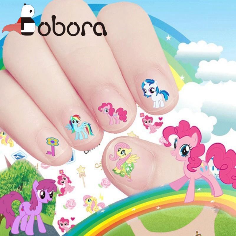 BOBORA Kids Lovely Cartoon Unicorn Girls Nail Sticker