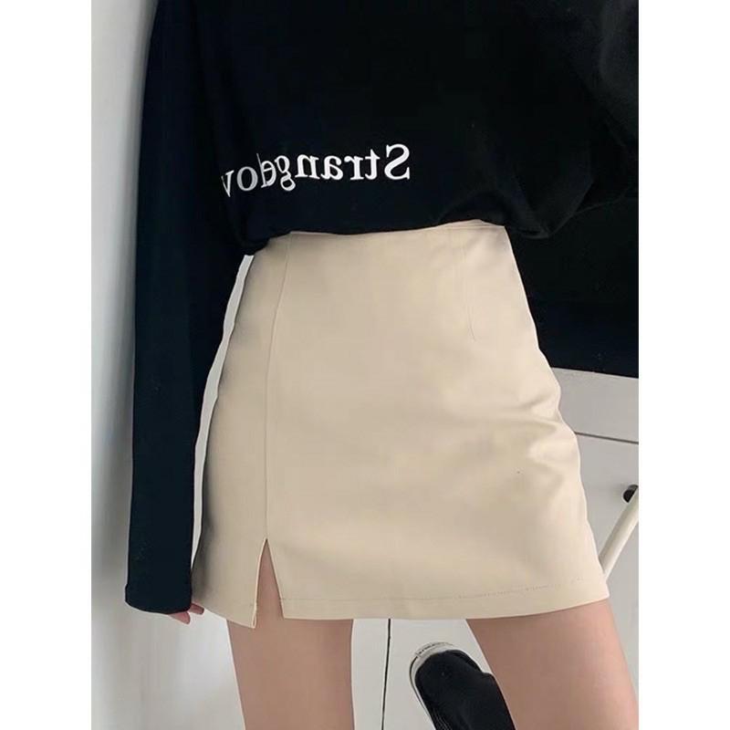 Chân váy chữ A ngắn xẻ trước kèm quần trong vải tuyết mưa nhiều màu hottrend