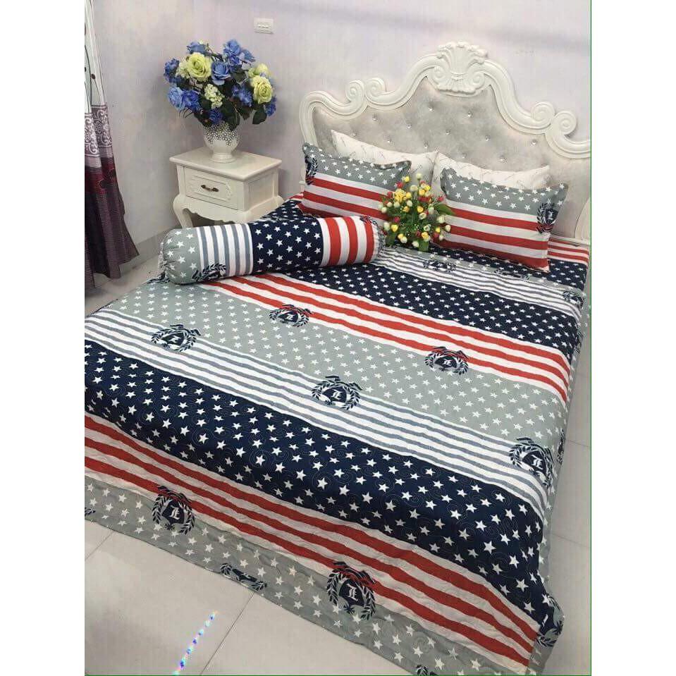Bộ Ga Gối KT 2M2 Vải Cotton Poly cờ mỹ