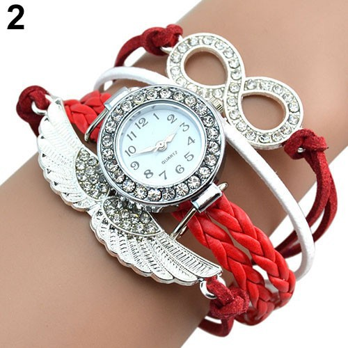 Đồng hồ dây giả da hình đôi cánh đính đá độc đáo cho nữ