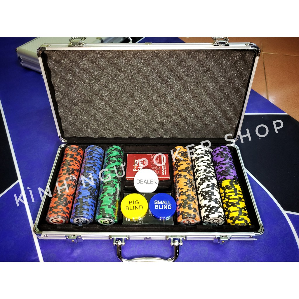 [CÓ BÀI NHỰA] Bộ vali 300 Chip poker có số Tự chọn mệnh giá có vali phỉnh Poker NGÔI SAO bằng đất nung lõi thép 14,5g