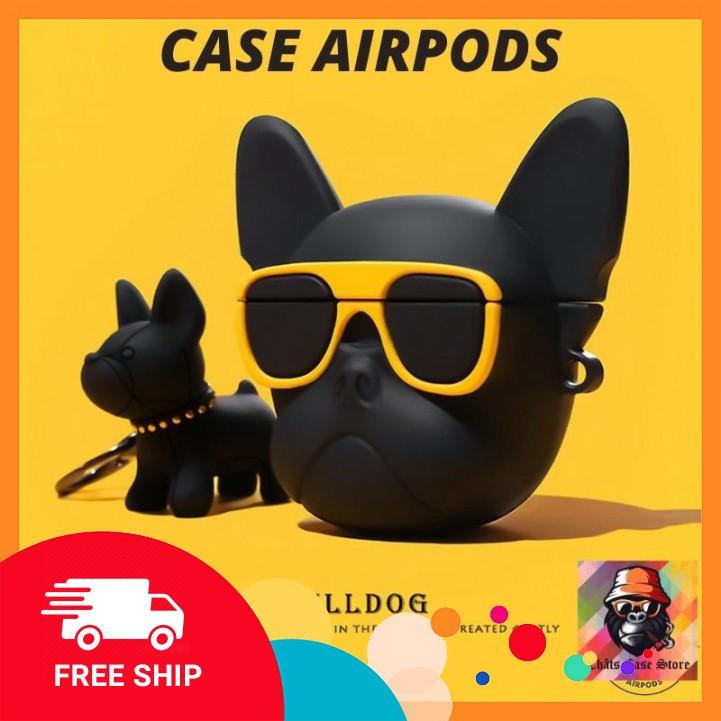 Airpods Case ⚡ Freeship ⚡ CHÓ PITBULL NGẦU KÍNH VÀNG Case Tai Nghe Không Dây Airpods 1/2/i12/Pro -