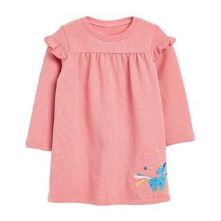 Mã S0846 Váy thu đông màu hồng cầu vai phối béo nhún xinh xắn cho bé gái