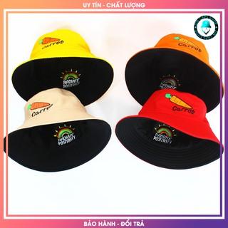 Mũ Bucket Nón Tai Bèo 2 Mặt Cà Rốt Vải Kaki Vàng Cam Be Đỏ Đen