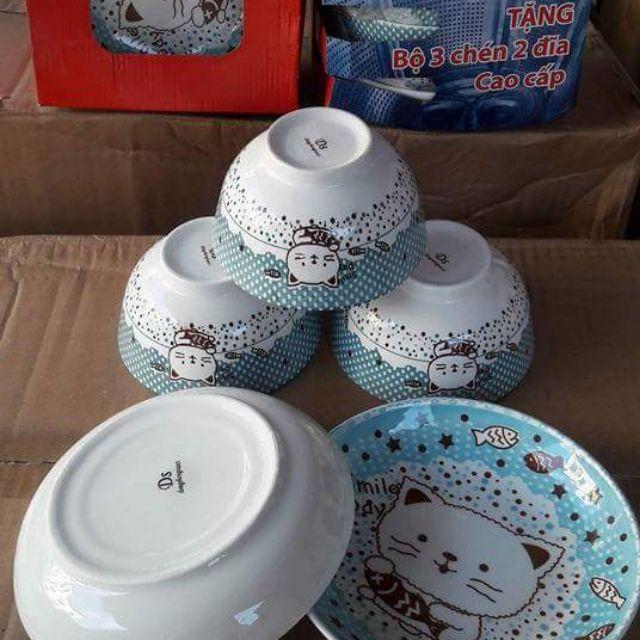 Bộ bát đĩa mèo sứ ca