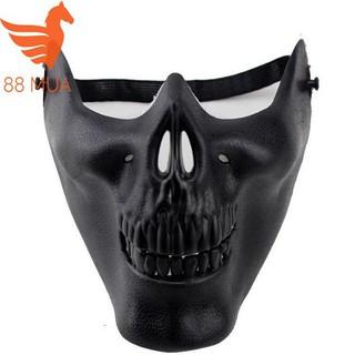 Mặt Nạ Halloween Mặt Nạ Masquerade Mặt Nạ Cosplay Nửa Khuôn Mặt Nạ Chiến Binh ĐEN-q53