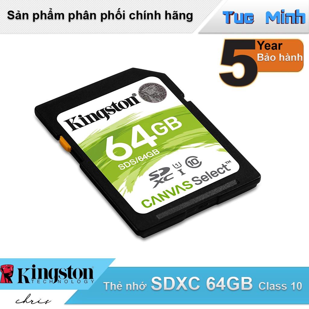 Thẻ nhớ SDXC 64GB Kingston Class 10 USH-I - hàng FPT Synnex phân phối