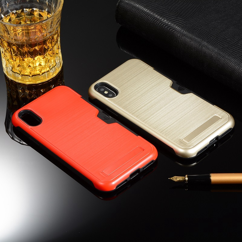 Apple iPhone Xs Max Case Cover Anti-Drop Bracket Holder Card Slot Cases Ultra-thin TPU+PC 3in 1 brushed Mobile Cover