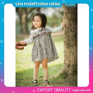 Đầm bé gái-Váy hoa phối tay trắng hai dây chính hãng HAKI -hoa hồng trắng HK488