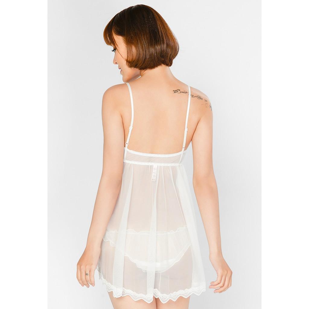 [Mã FASHIONMALLT4 giảm 15% đơn 150k] Sexy Forever Set Váy Ngủ Hai Dây Xoè Isabella Trắng