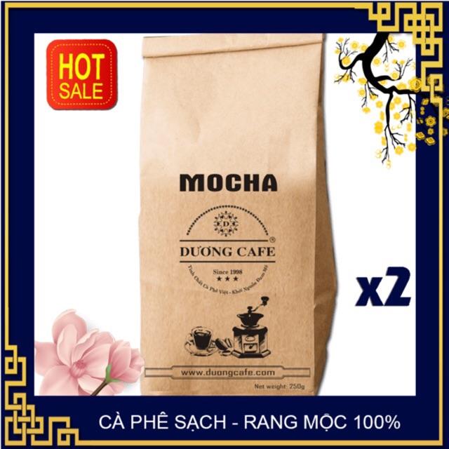 [2 gói] CÀ PHÊ MOKA - CAFE RANG XAY NGUYÊN CHẤT -  Cafe Cầu Đất thơm ngon đặc biệt, gói 250g - Dương Cafe
