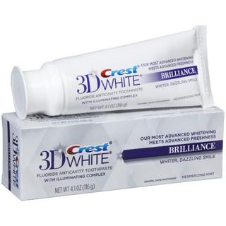 (Mua 1 tặng 1) Kem đánh răng Crest 3D 116gr Bản Trung White Brilliance Advanced Stain Protectiuon làm trắng sáng răng