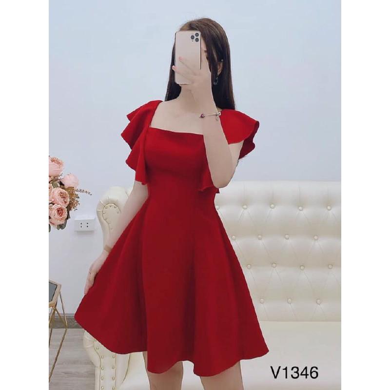4220446043 - [Đấm Thiết Kế 2020]Đầm Dự Tiệc Cổ Vuông Tay Bèo Chiết Eo Chân Váy Ngắn Quý Phái Kèm ảnh thật