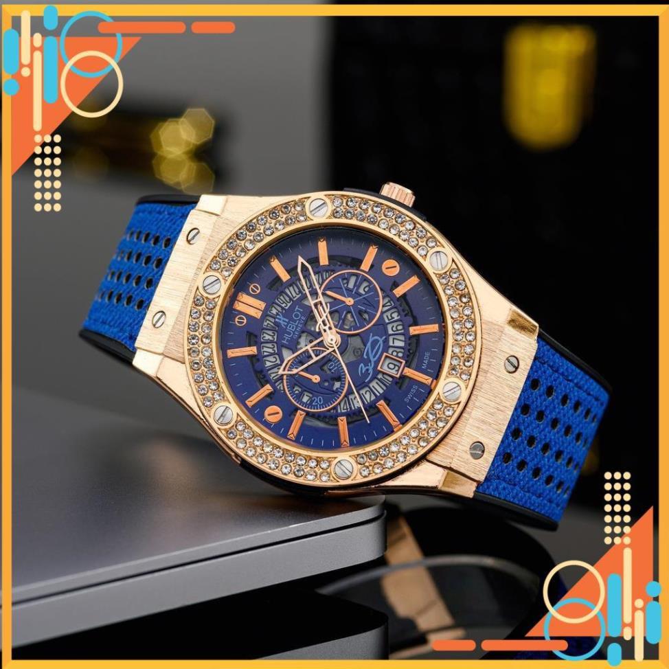 Đồng hồ nam Hublot mặt tròn size 42 caro cao cấp dây da chống nước DH204  shop105