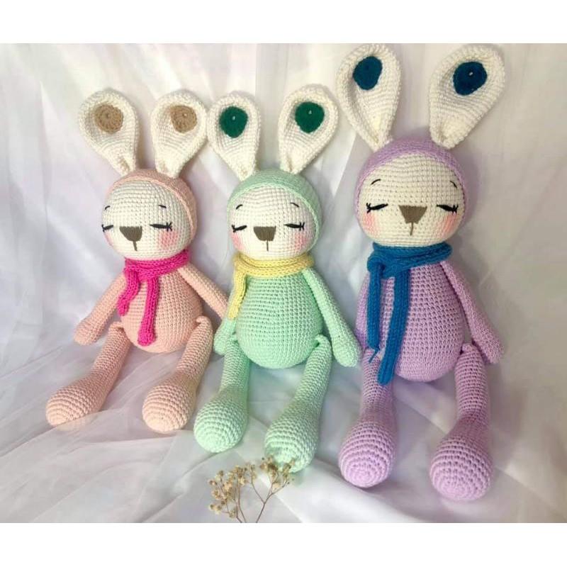Chú thỏ len sleeping bunny zoe - Thú nhồi bông handmade