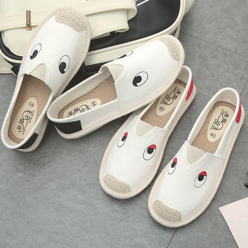 Giày mọi giày lười cói hình mắt đáng yêu