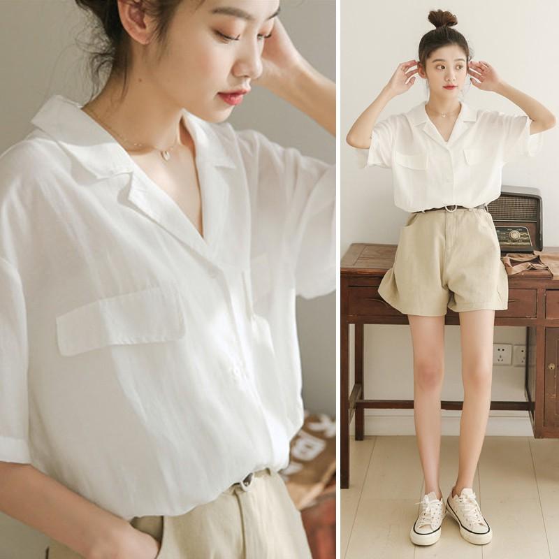 เสื้อเชิ้ต Blouse In the summer of 2019 new easing v-neck white shirt is design feeling celestial niche early autumn li