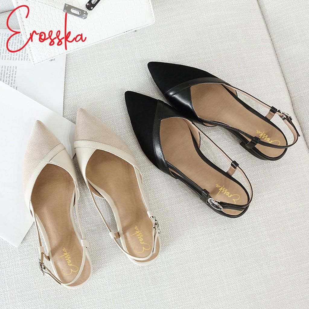 Hình ảnh Giày Sandal Nữ Đế Bệt Mũi Nhọn Thời Trang Erosska EL005 ( Màu Kem)-5