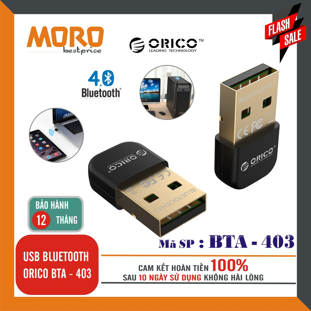 [Nhập ELCLMAY hoàn 30K xu đơn từ 200K]Thiết bị thu USB BLUETOOTH ORICO BTA-403 – Phân phối chính hãng Giá chỉ 89.000₫
