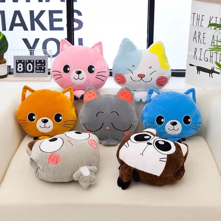 Chăn kèm gối hình mèo dễ thương cho dân văn phòng nhiều màu