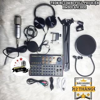[tặng full phụ kiện] trọn bộ combo micro BM900 + sound card K3000 + full phụ kiện livestream karaoke thu âm chuẩn bh 12t thumbnail