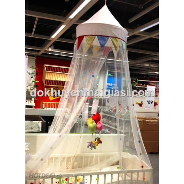 Mùng Ikea treo nôi/ cũi cho bé màu trắng trang trí cực xinh – Loại 1, Dài 2.4 m.