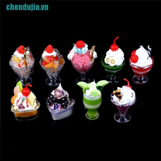 【chendujia】Dollhouse Mini Food Decor Cream Fruit Cup Ice cream cup Simulation