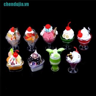 【chendujia】Dollhouse Mini Food Decor Cream Fruit Cup Ice cream cup Simulation